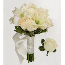 Bridesmaid Bouquet & Groomsman Boutonniere White