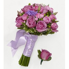 Lovely Lavender Bridesmaid Bouquet & Groomsman Boutonniere