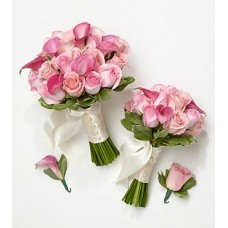 Pink Bride & Maid of Honor Bouquets with Groom & Best Man Boutonnieres
