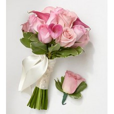 Pink Bridesmaid Bouquet & Groomsman Boutonniere