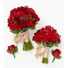 Red Bride & Maid of Honor Bouquets with Groom & Best Man Boutonnieres