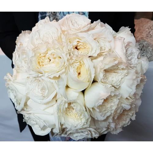 White Bridal Bouquet -Garden roses