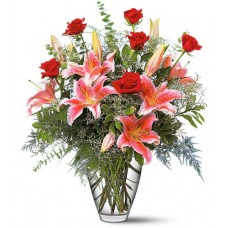 Birthday Lilies and Roses