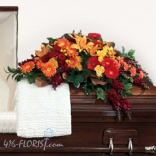 Autumn Flowers Funeral Casket Spray
