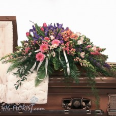 Colourful Tributes Casket Flower Spray