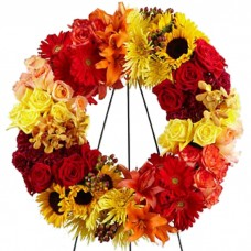 Blazing Blooms Sympathy Wreath