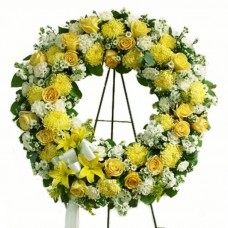 Bright Yellow Beauty Funeral Wreath