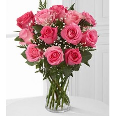 Dozen Pink Roses - Vase included