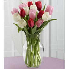 Here in My Heart Valentine Tulip Bouquet - 15 Stems - VASE INCLUDED