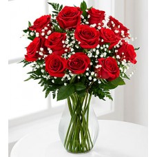 12 Stems Red Roses with FREE Vase- VASE INCLUDED