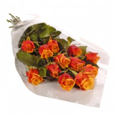 12 Stem Orange Rose Bouquet