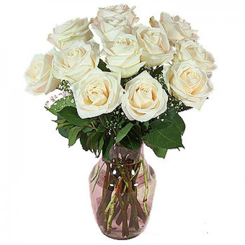 12 Stems White Roses with FREE Vase