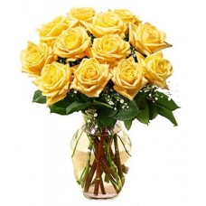 12 Stems Yellow Roses with FREE Vase