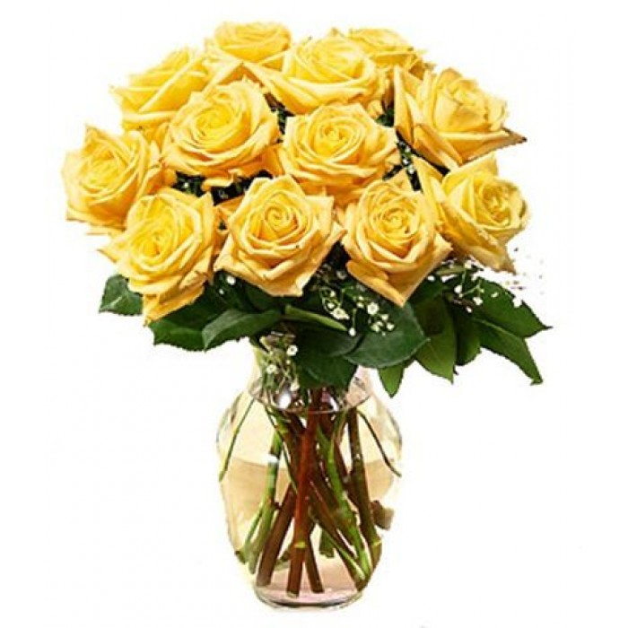 12 stems yellow roses with free vase mightylinksfo