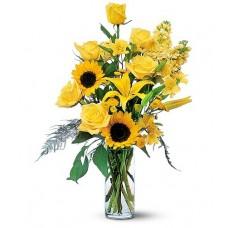 Blazing Sunshine Flowers with FREE Vase
