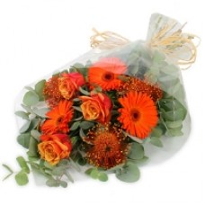Hand Tied Bouquet - Orange Roses and Gerbera