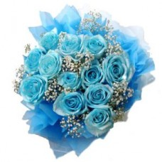 12 Stems Blue Hand Bouquet