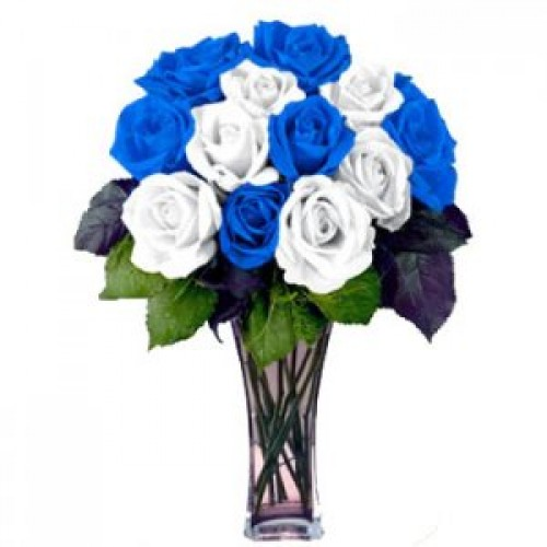 Blue and White Roses with FREE Vase