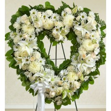 Angelic All White Heart Wreath