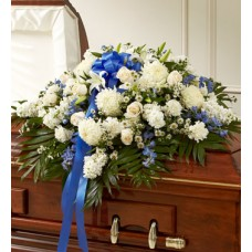 Accents of Blue Funeral Casket Spray