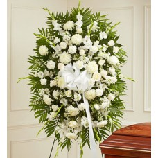 Condolences Flowers - All White Funeral Standing Spray