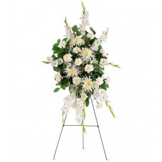 All White Tribute Flowers Spray