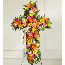 Bright Catholic Cross Standing Spray