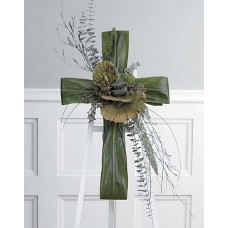 Funeral Natural Green Cross Easel