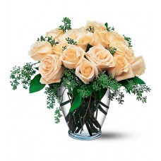 Cream Flowering Roses with FREE Vase