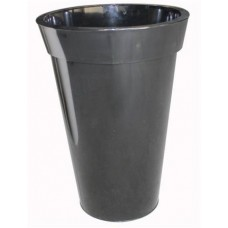 Black round zinc planter
